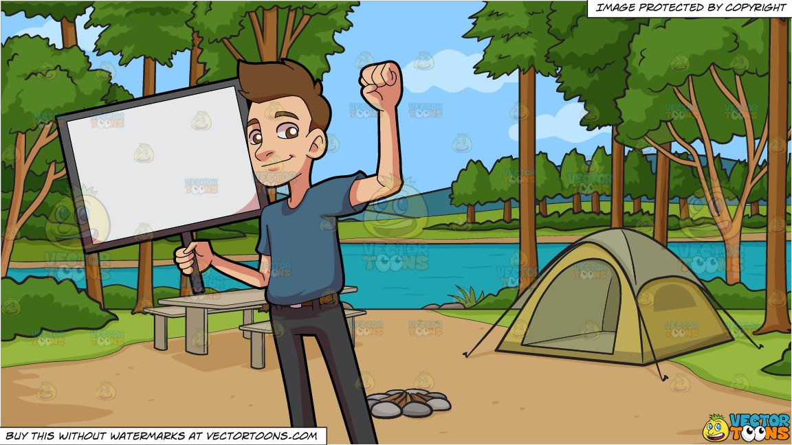 Animal clipart encouraging image royalty free download An Encouraging Man With A Signboard and Campground During The Day Background image royalty free download