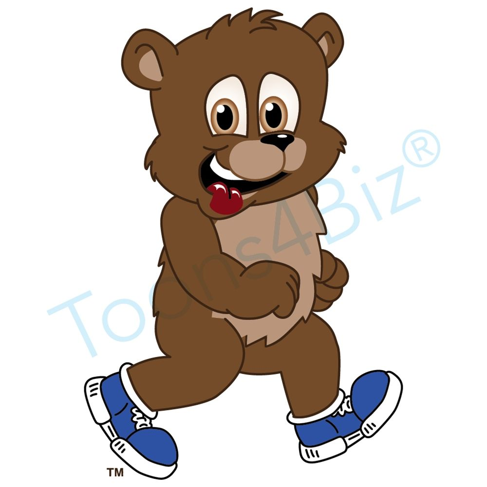 Animal clipart in tennis shoes clip free Bear Mascot with Tennis Shoes | PTA Walkathon | Cubs mascot, Bear ... clip free