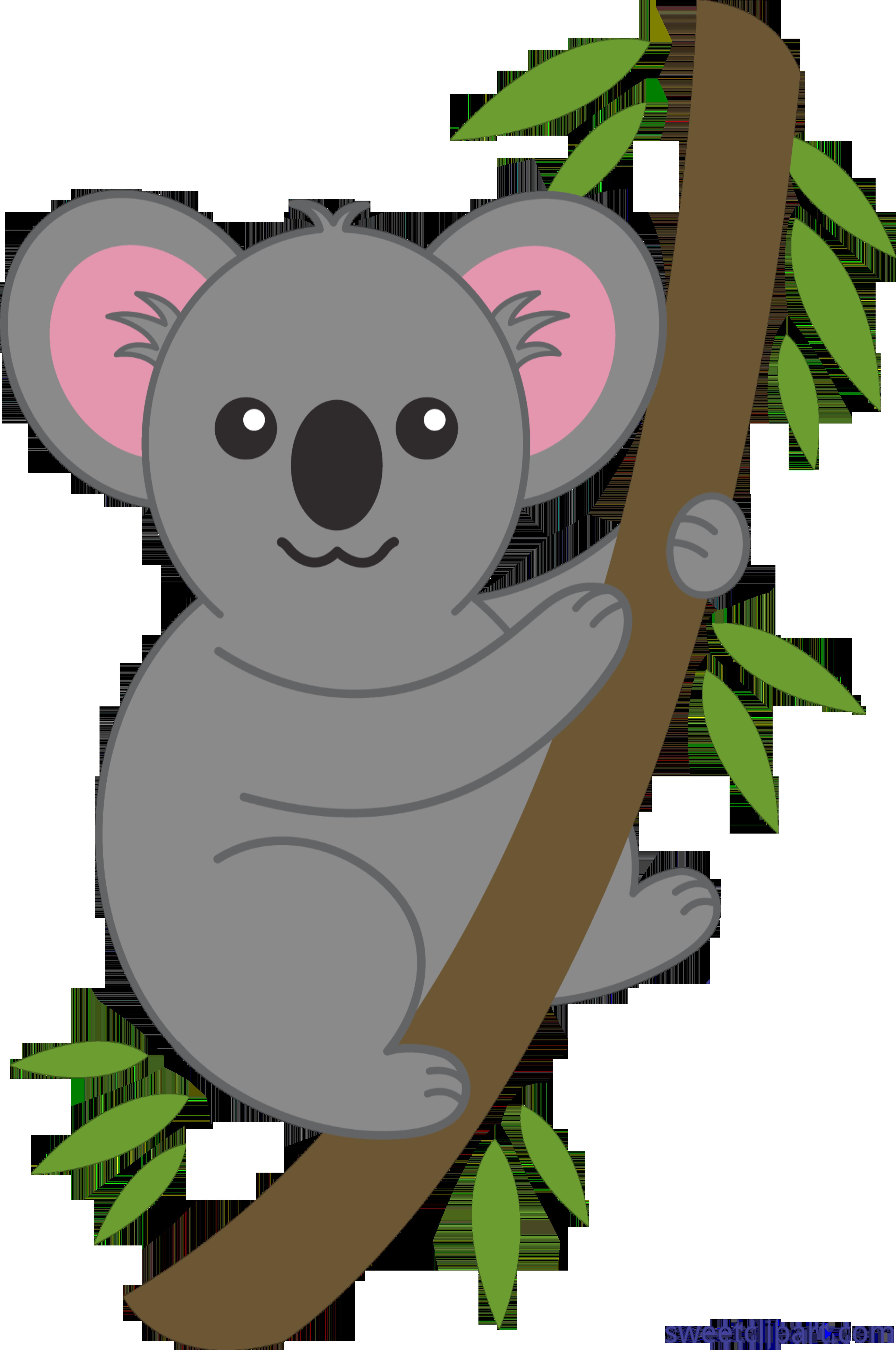 Animal clipart koala jpg black and white library Koala On Tree Clip Art - Sweet Clip Art jpg black and white library