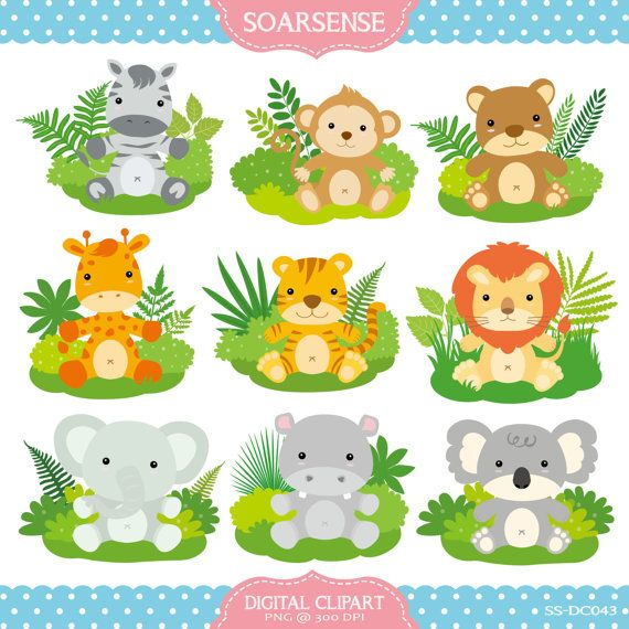Printable zoo and . Free clipart of jungle animals