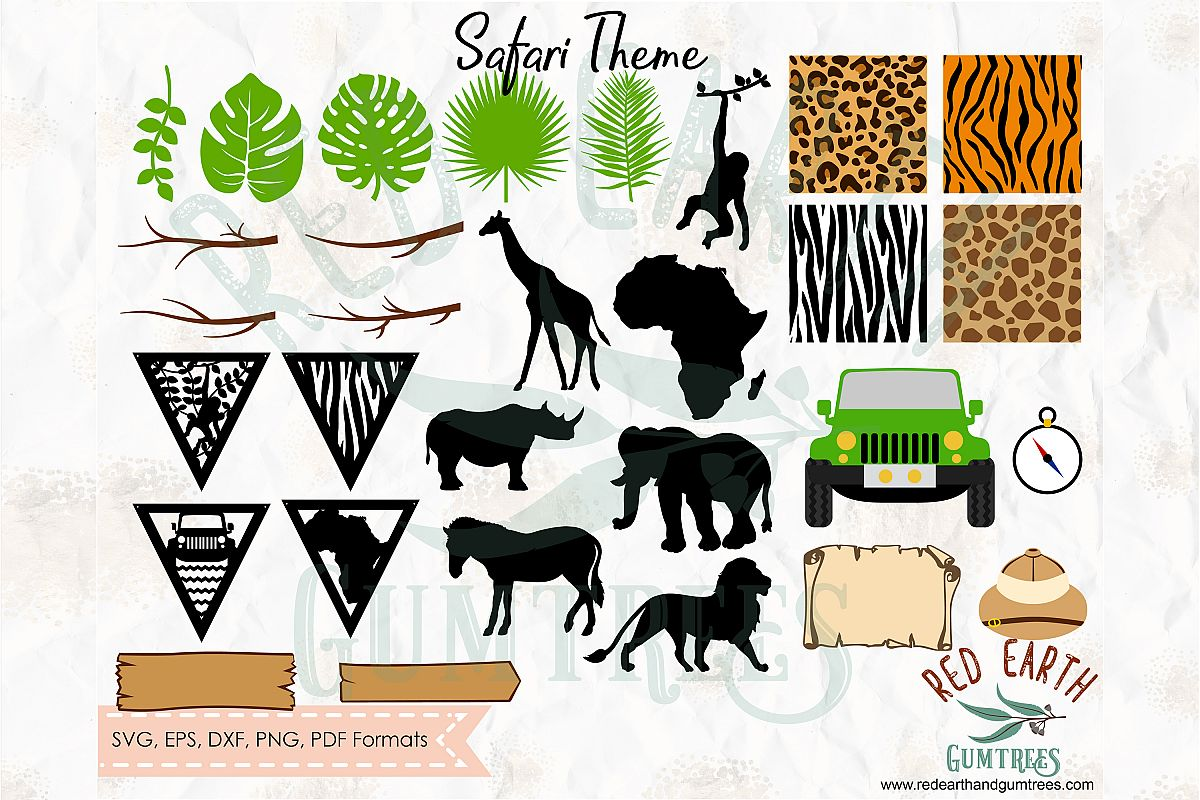 Animal clipart set dxf safari picture freeuse stock HUGE Safari party theme elements in SVG,DXF,PNG,EPS,PDF picture freeuse stock