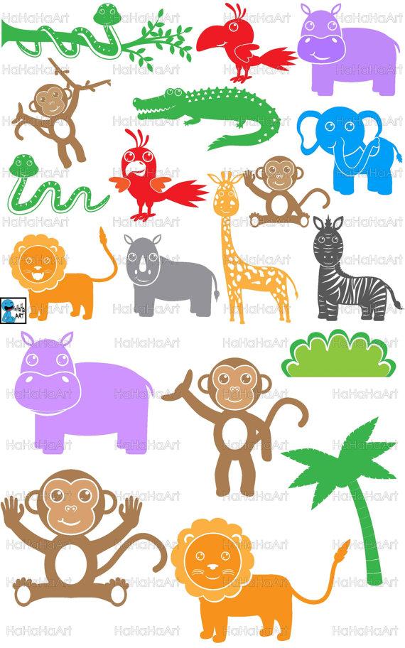 Animal clipart set dxf safari transparent Safari Animals Monogram - Digital Cutting files svg png dxf eps ... transparent