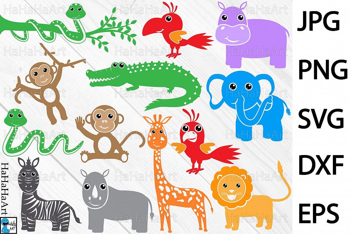 Animal clipart set dxf safari clip art black and white download Safari animals Monogram - Clip art Cutting Files - 91c clip art black and white download