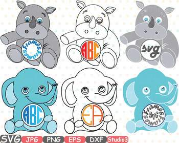 Baby elephant monogram clipart clip art royalty free download Elephant Rhino Circle Outline Monogram clipart Safari Baby Animals frame  753S clip art royalty free download