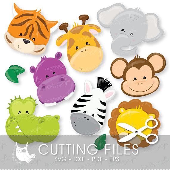 Animal clipart set dxf safari image freeuse Jungle Animals faces cutting files, svg, dxf, pdf, -animals faces ... image freeuse