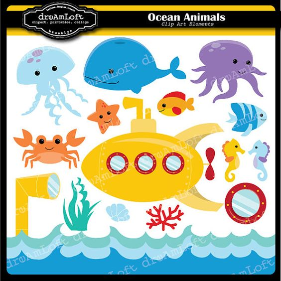 Ocean Animals Clip Art Digital Collage Sheet Clipart for cards ... svg freeuse