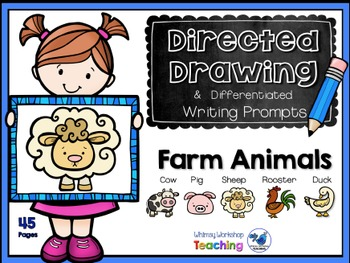 Animal clipart used for writing prompts svg library stock Directed Drawing +Writing Prompts Farm Animals (45 pgs) Whimsy Workshop  Teaching svg library stock