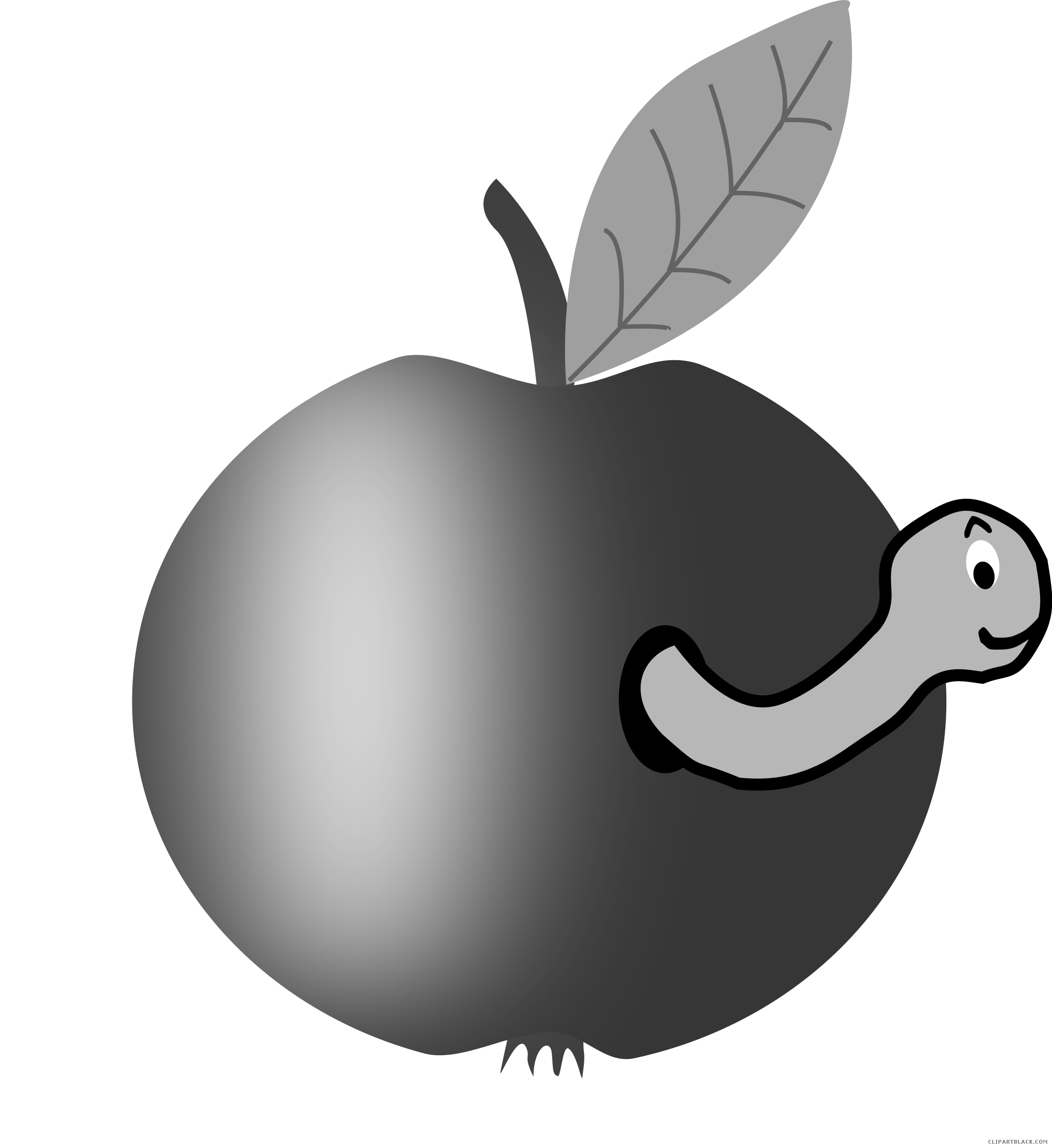 Apple in a worm clipart jpg black and white Apple with Worm Animal free black white clipart images clipartblack ... jpg black and white