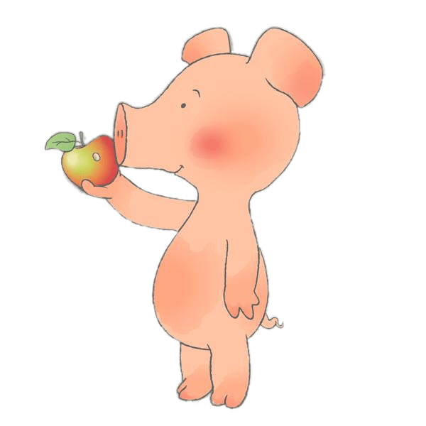 Animal eating apple clipart vector black and white stock Wibbly Pig Eating An Apple transparent PNG - StickPNG vector black and white stock