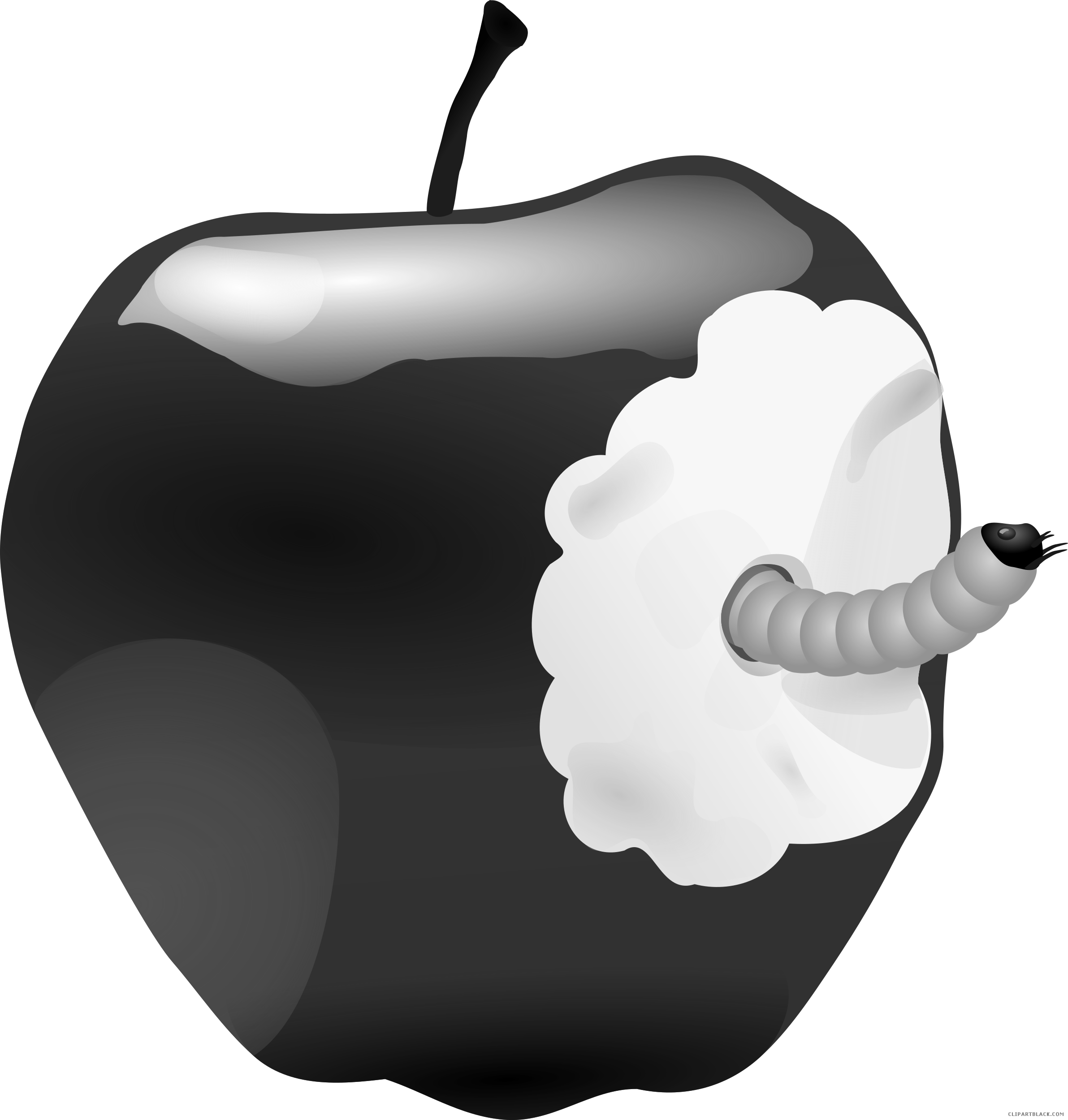 Apple clipart greyscale image free library Apple with Worm Animal free black white clipart images clipartblack ... image free library