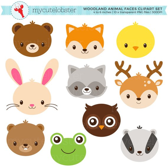 Woodland animal face masks clipart clip free Woodland Animal Faces Clipart Set - cute animals, rabbit, deer, fox ... clip free