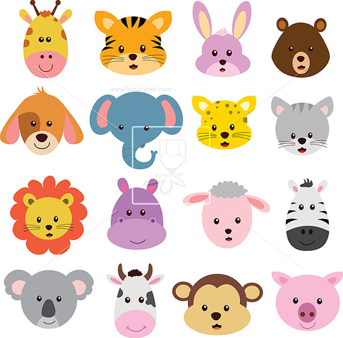 Animal face clipart clip royalty free Animal Face   Free vectors, illustrations, graphics, clipart, PNG ... clip royalty free