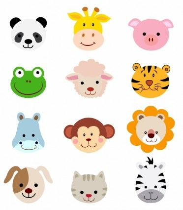 Free clipart animals cartoon picture royalty free stock Animal Faces Set | clothing ideas | Animal faces, Baby animals ... picture royalty free stock