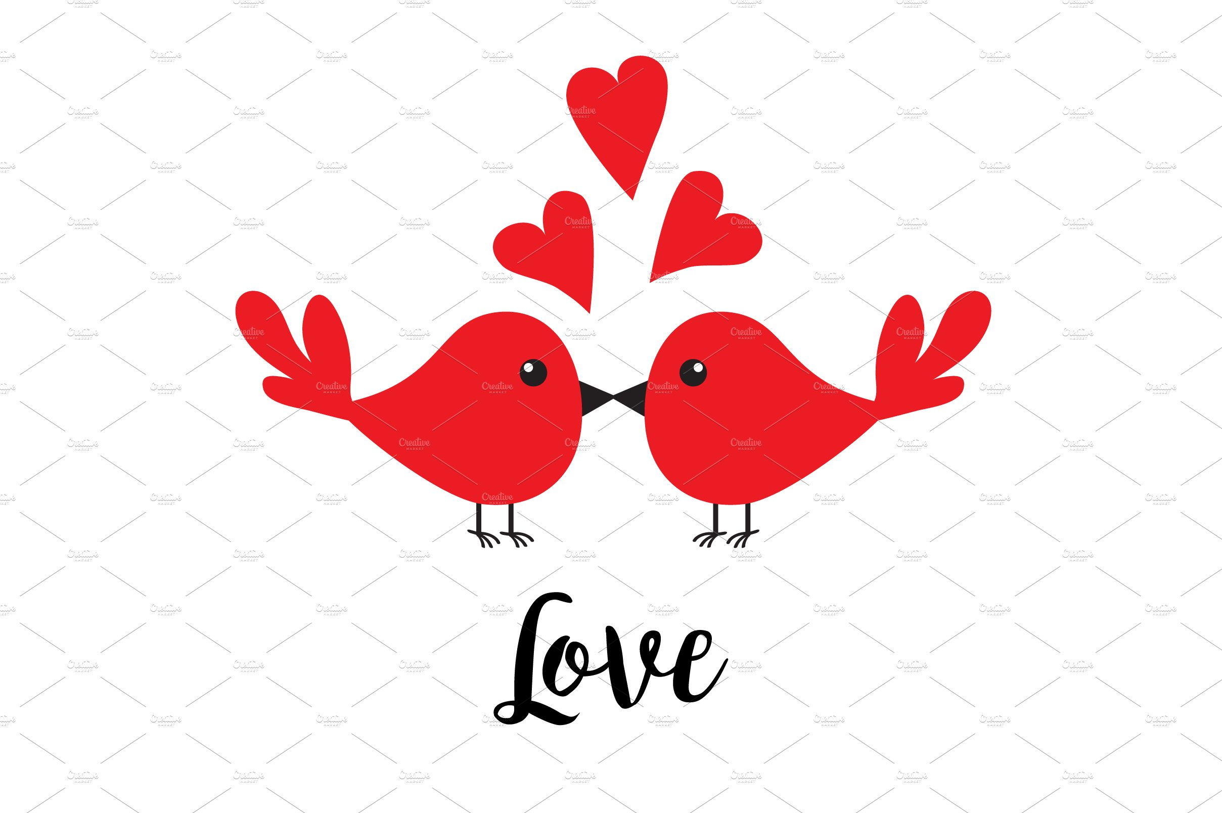 Animal family love clipart picture stock Two kissing bird family. Love picture stock