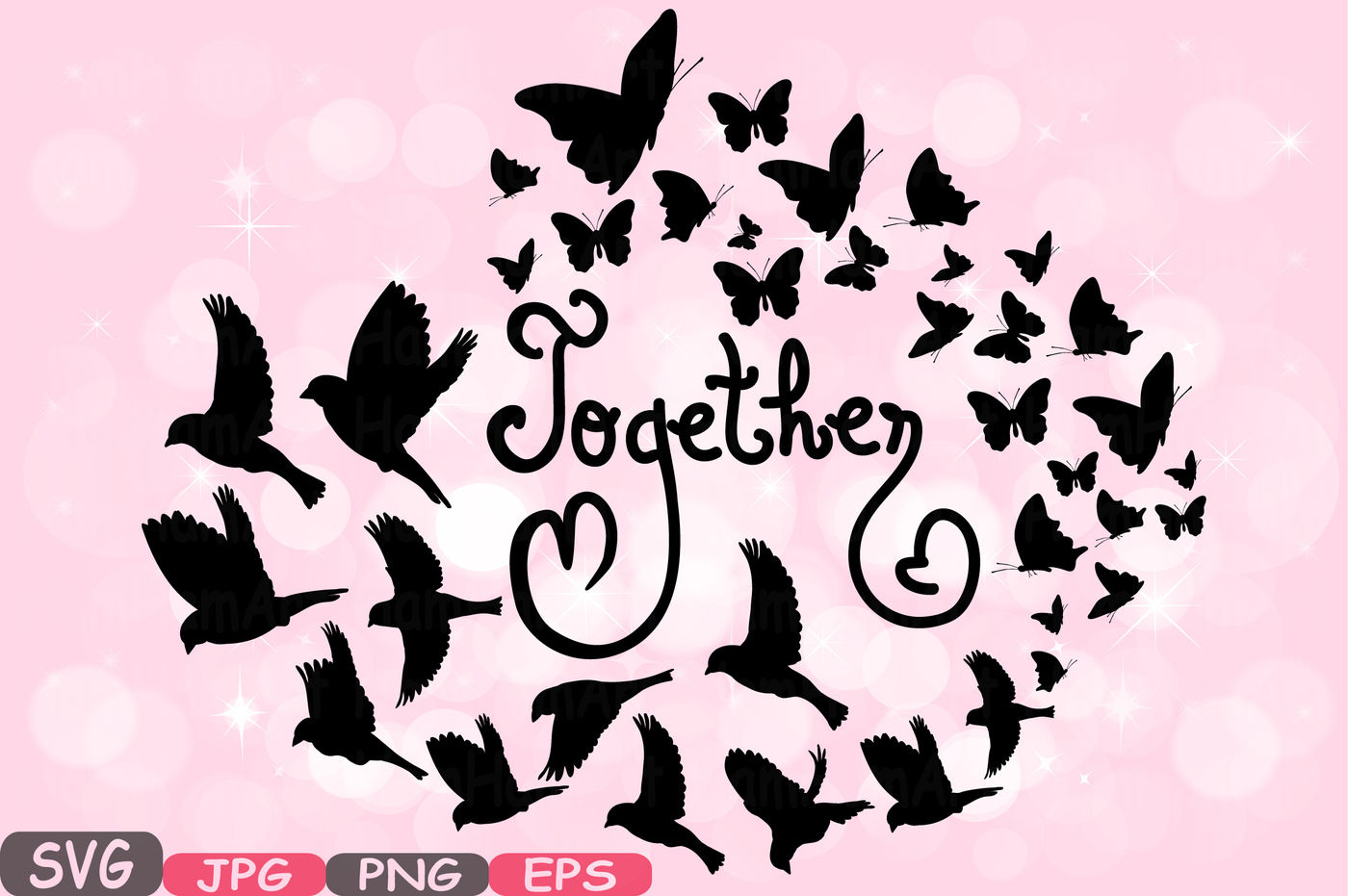 Clipart love family picture library download Together Family birds & Butterflies butterfly Silhouette Digital ... picture library download