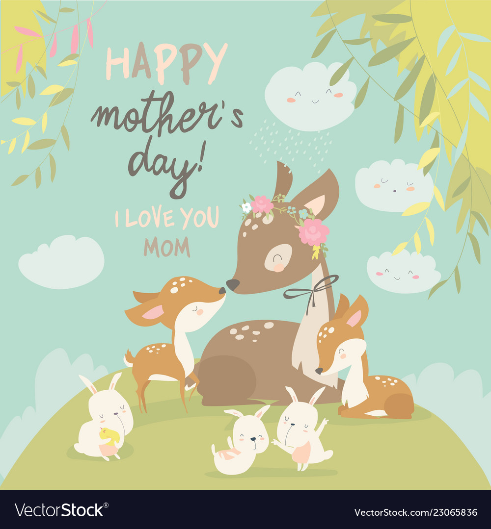 Animal family love clipart clip art freeuse library Cartoon deer family mother and baby cute animals clip art freeuse library