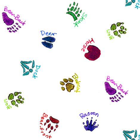 Animal footprint clipart color jpg transparent stock Animal Tracks Color Stamps wallpaper - engravogirl - Spoonflower jpg transparent stock
