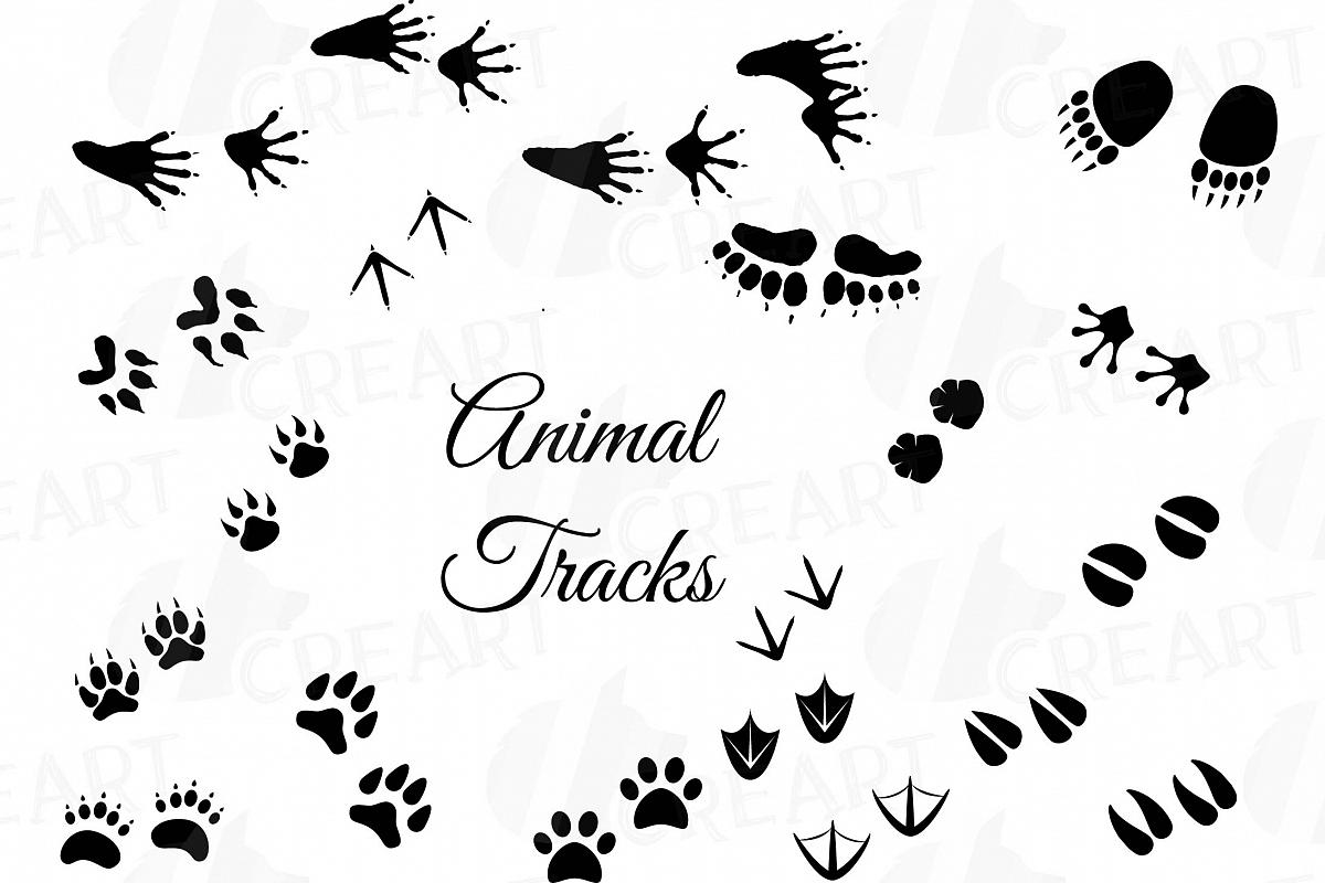 Animal footprint clipart color svg library stock Animal Tracks, Woodland Animals footprints Clipart pack svg library stock