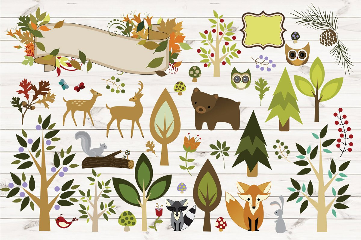 Illustration vector clipart clip black and white stock Woodland Animals Vector Clipart clip black and white stock