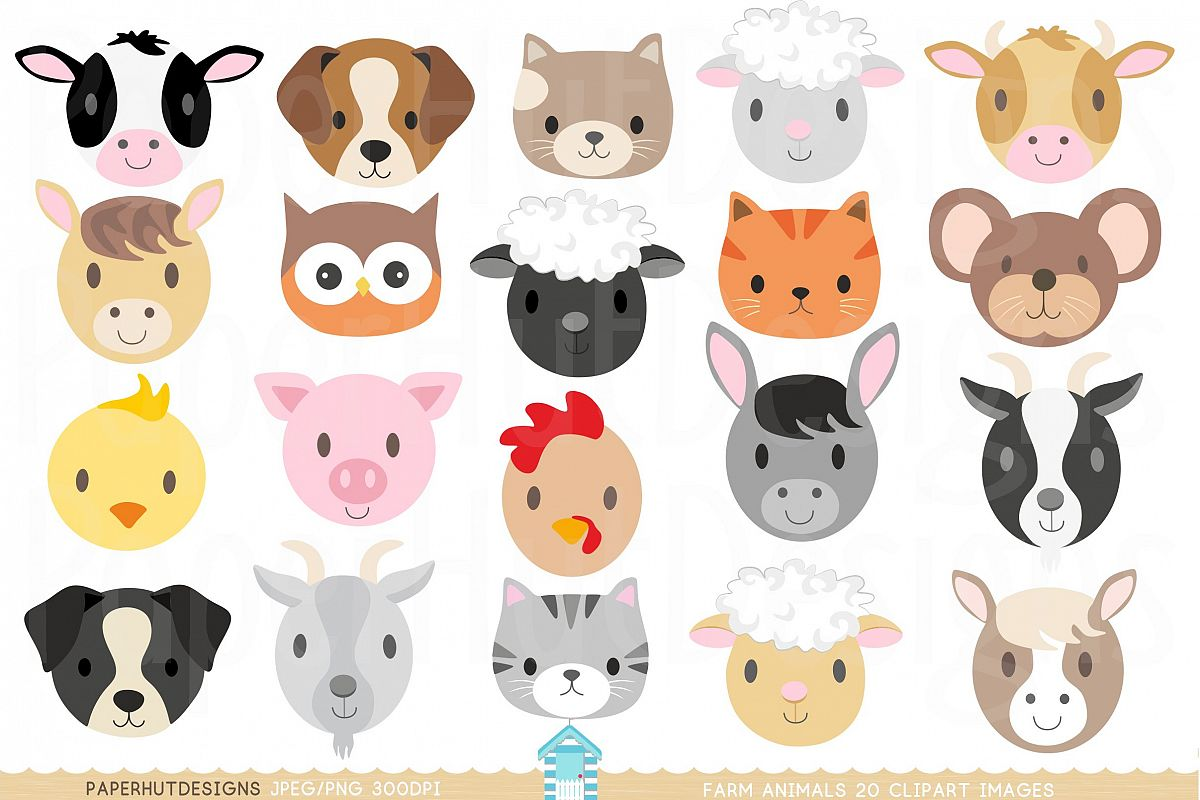 Clipart animal clipart free Farm Animal Faces Clipart clipart free