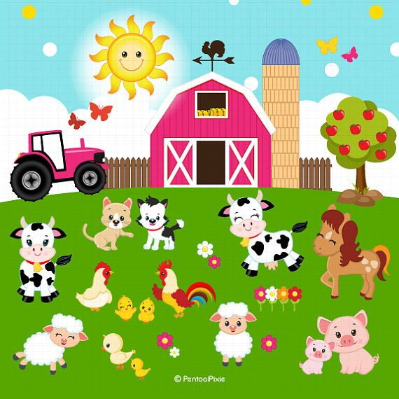 Animal in action clipart vector royalty free download Farm animals clipart, Farmer Girls clipart, Farm clipart | Drawing ... vector royalty free download