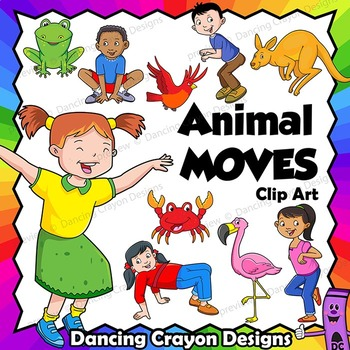 Animal in action clipart svg free download Animal Movement - Kids in Animal Poses   Clip Art Kids svg free download