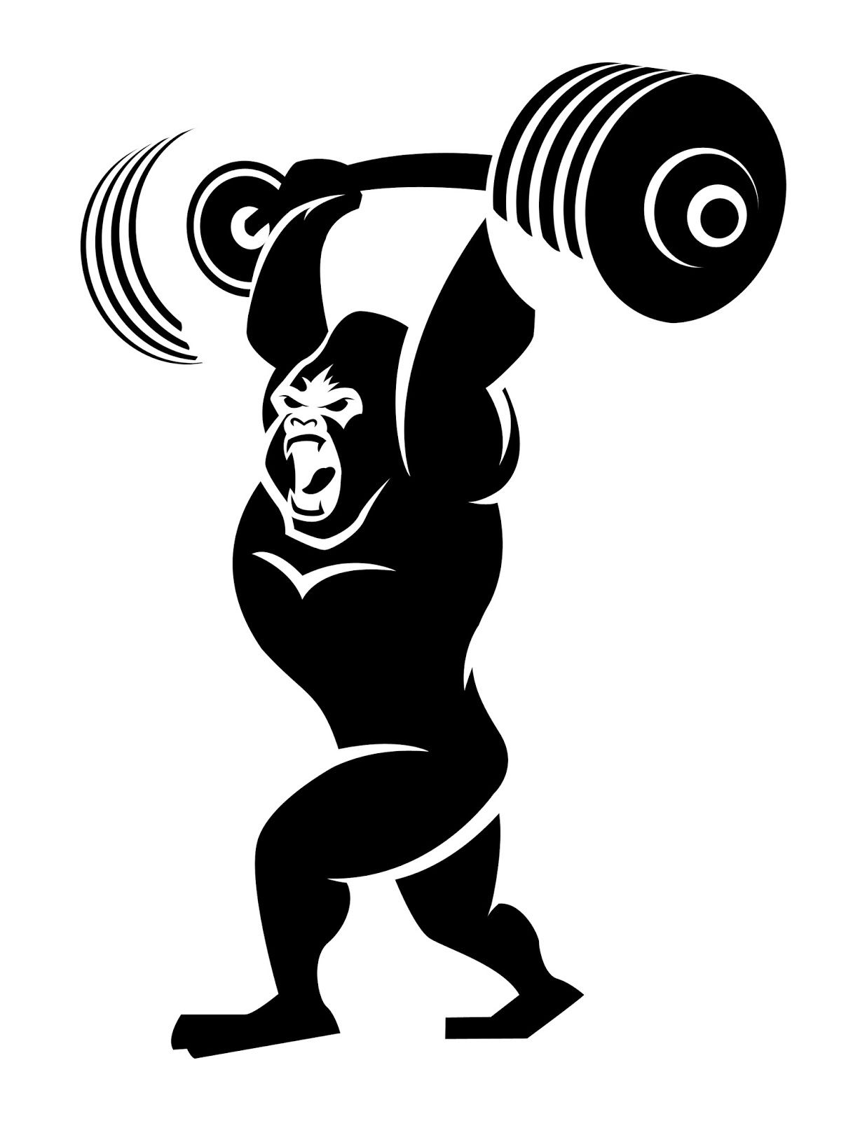 Animal lifting weight clipart black and white jpg transparent download Gorilla Weight Lifting Logo - Build Muscle And Burn Fat At The Same ... jpg transparent download