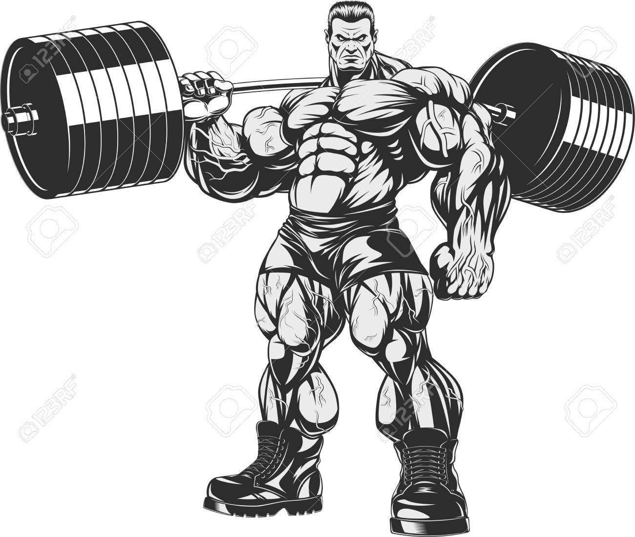 Animal lifting weight clipart black and white vector freeuse download 71381111 Vector Illustration Strict Coach Bodybuilding And Fitness ... vector freeuse download