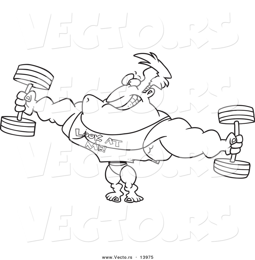 Animal lifting weight clipart black and white jpg black and white stock Vector of a Cartoon Bodybuilder Wearing a Look at Me Shirt and ... jpg black and white stock