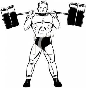 Animal lifting weight clipart black and white clipart transparent library A Black and White Cartoon of a Powerlifter Lifting Weights - Royalty ... clipart transparent library