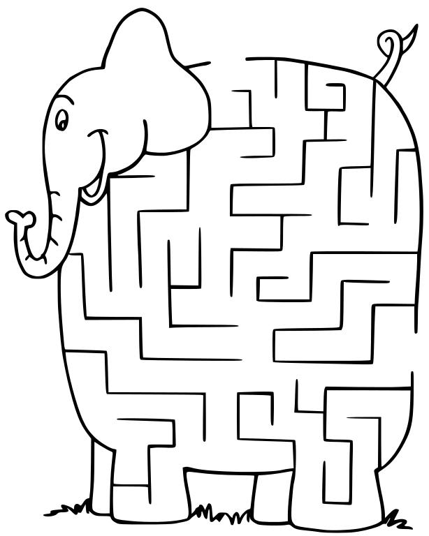 Animal maze clipart svg royalty free download maze elephant - /recreation/games/maze/maze_elephant.png.html svg royalty free download