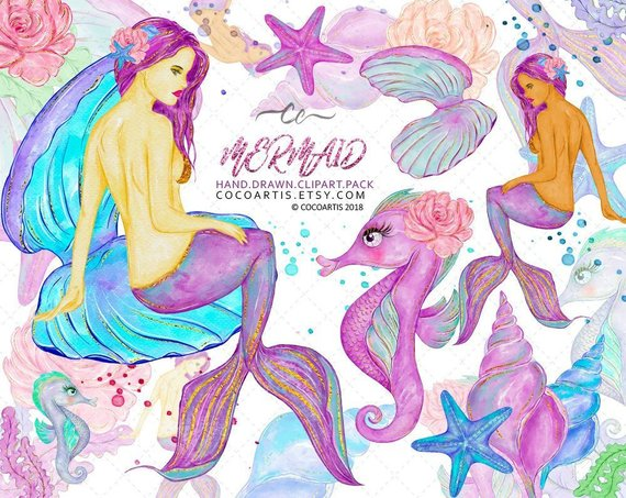 Animal mermaid clipart svg freeuse download Mermaid Clipart — under the sea animals mermaid party seahorse ... svg freeuse download