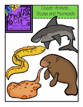 Animal mermaid clipart clip freeuse stock Ocean Animals, Scuba and Mermaid Kids {Creative Clips Digital Clipart} clip freeuse stock