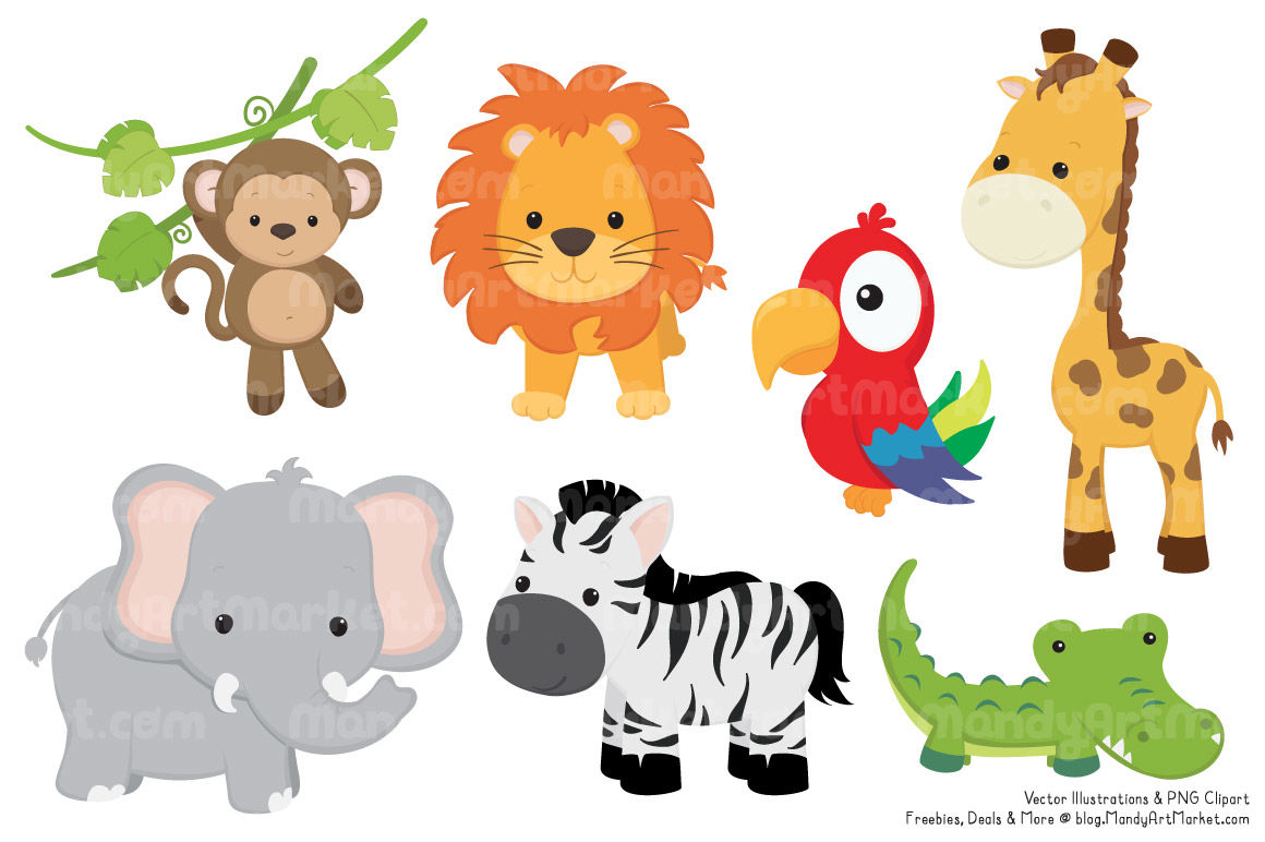 Jungle safari animals clipart png library stock Cute Jungle Animal Clipart & Vectors By Amanda Ilkov | TheHungryJPEG.com png library stock