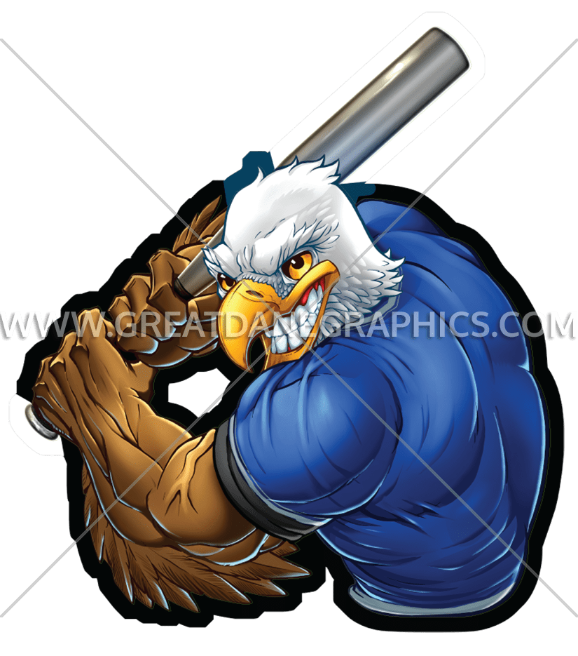 Animal player baseball clipart banner black and white library Eagle Baseball Player | Production Ready Artwork for T-Shirt Printing banner black and white library