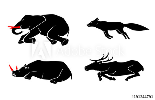 Animal poaching clipart vector royalty free stock Vector set of poaching and illegal animal hunting icons. Social ... vector royalty free stock