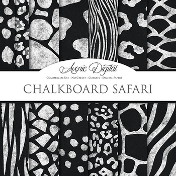 Animal print clipart background banner transparent Black & White Animal Print chalkboard Digital Paper safari scrapbook  background banner transparent