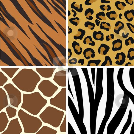 animal print patterns of tiger, leopard, giraffe and zebra. | Clip ... vector free