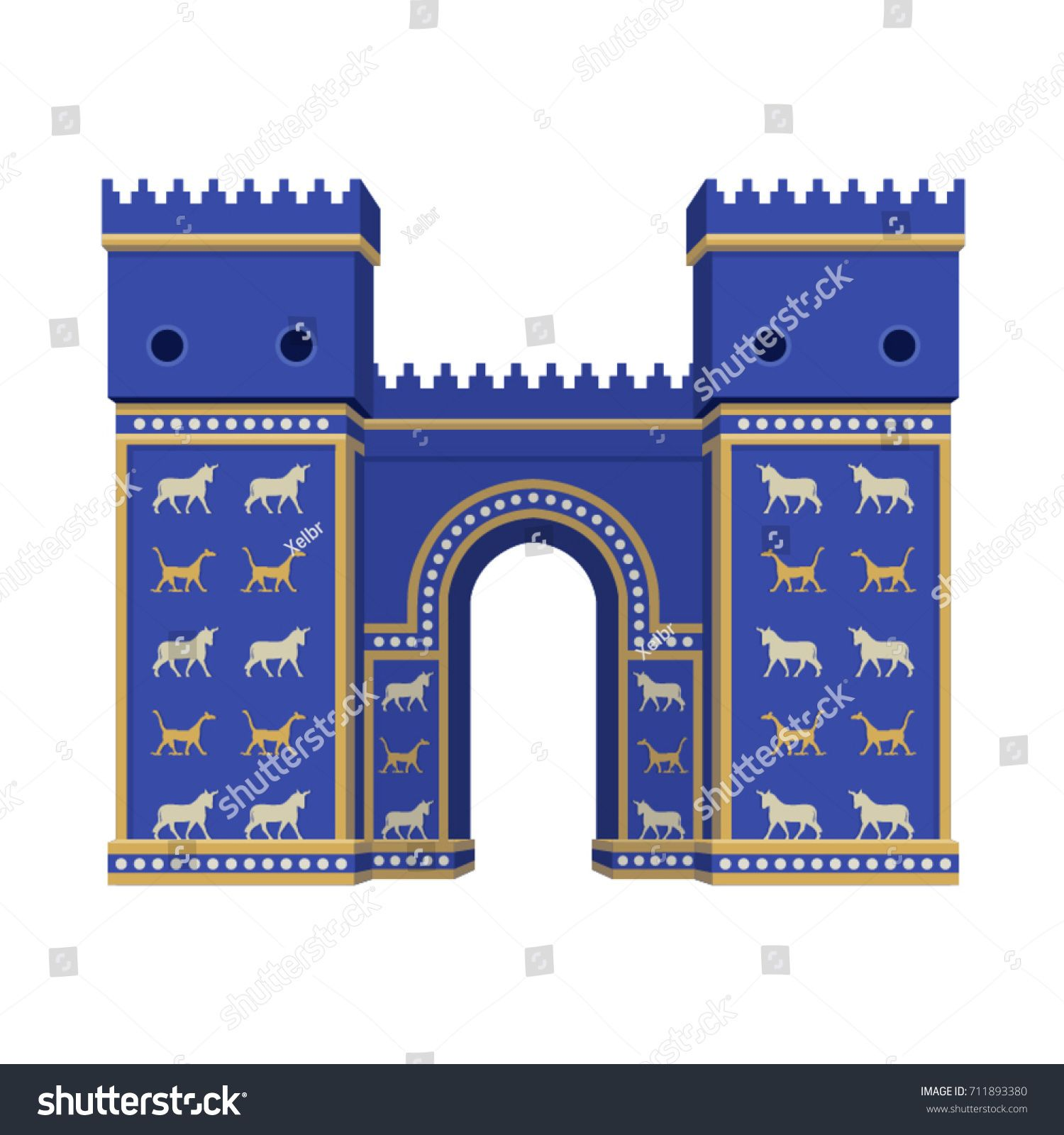 Animal prints on the ishtar gate clipart jpg library stock Vector isolated Ishtar Gate in Babylon on white background | vbs ... jpg library stock