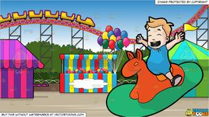 Animal ride in a amusment park clipart clipart black and white stock A Male Toddler Riding An Animal Rocker and An Amusement Park With Roller  Coaster Background clipart black and white stock
