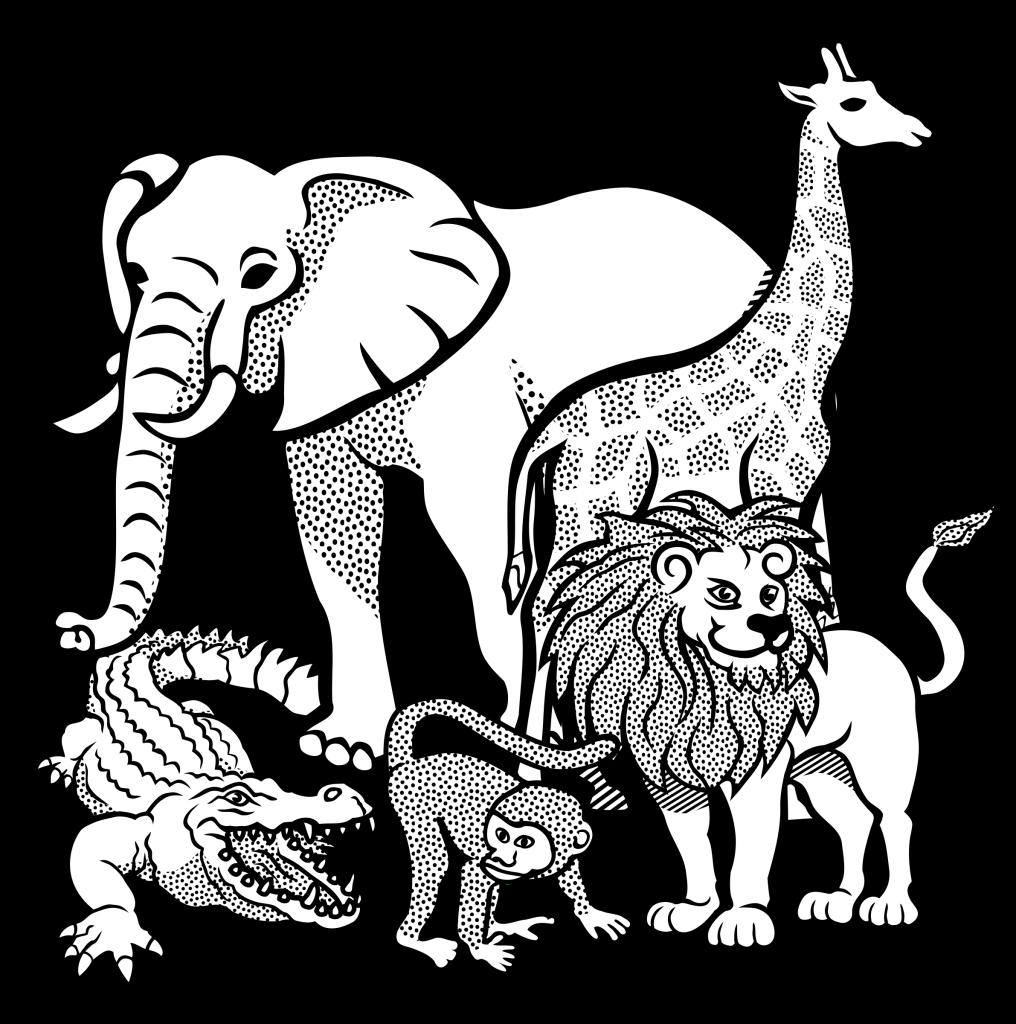 Animal school clipart svg black and white affe-africa-afrika-animal-animals-crocodile-elephant-giraffe-giraffe ... svg black and white