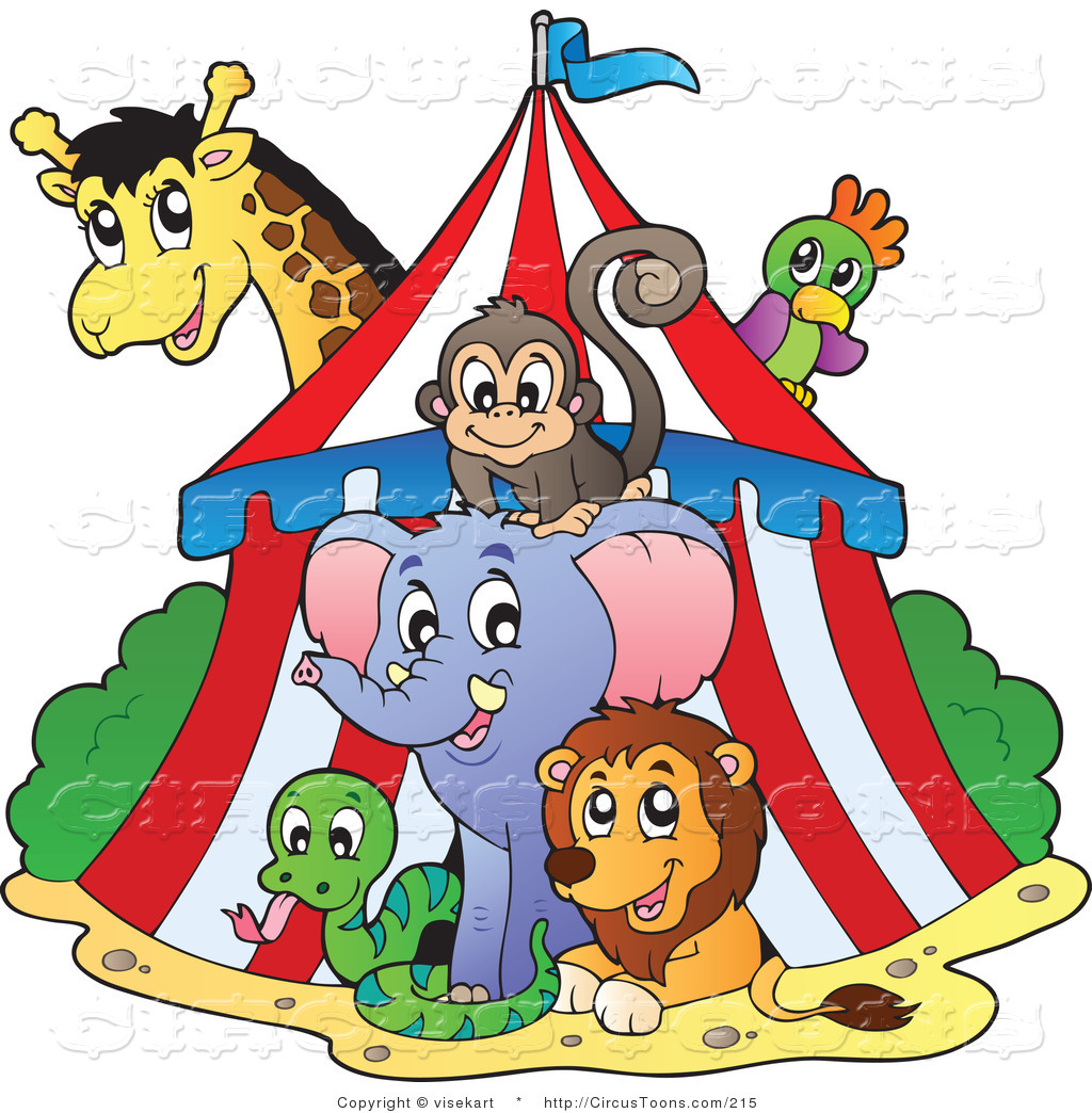 Animal show clipart clip art royalty free library Circus Clipart of a Big Top Circus Tent and Wild Animals by visekart ... clip art royalty free library