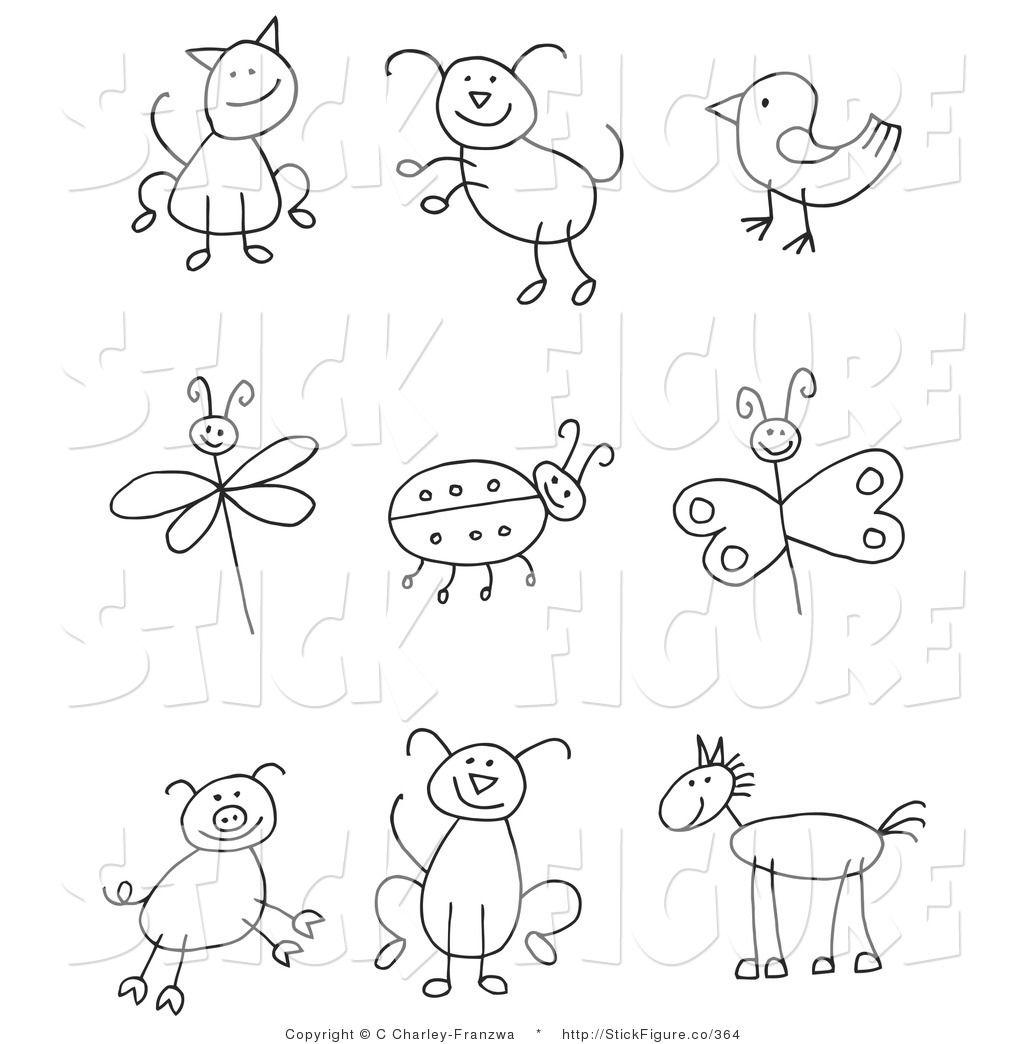 Stick figure animals clipart