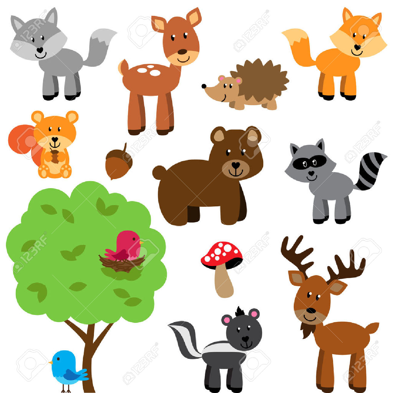 Animal stock clipart jpg transparent 3,772 Woodland Animal Stock Illustrations, Cliparts And Royalty ... jpg transparent