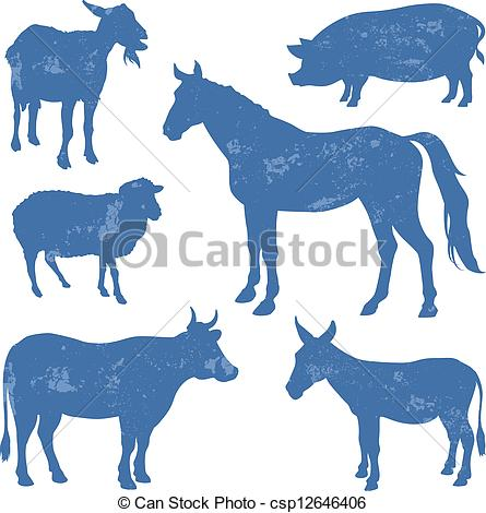 Animal stock clipart banner freeuse stock Vector Clipart of Livestock, farm animals vector silhouettes ... banner freeuse stock