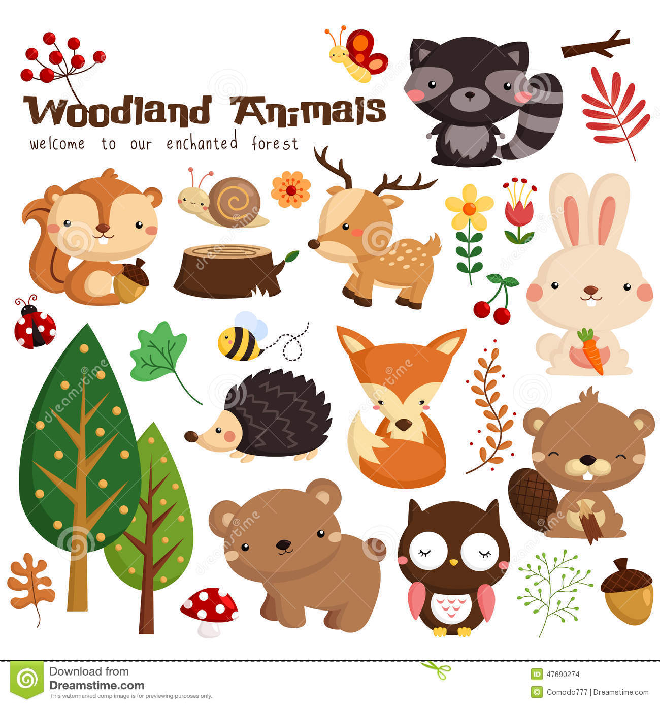 Illustrations woodland vector set. Animal stock clipart