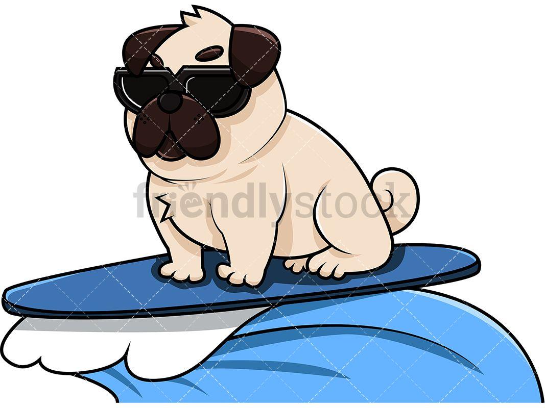 Animal surfing clipart jpg transparent Cool Pug Dog Surfing   Clipart Of Animals in 2019   Pugs, Vector ... jpg transparent
