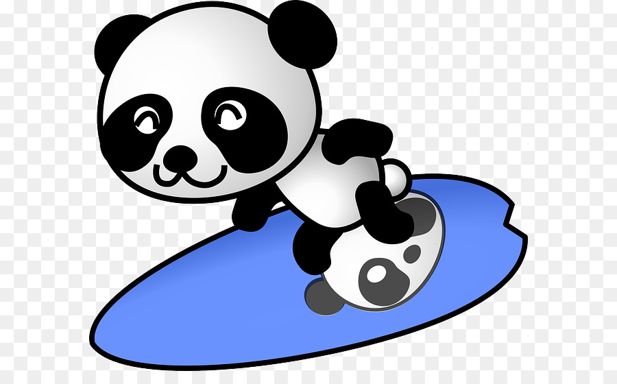 Animal surfing clipart banner black and white Panda Cartoon clipart - Surfing, Bear, transparent clip art banner black and white