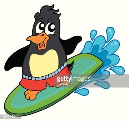 Animal surfing clipart svg black and white library Surfing Penguin premium clipart - ClipartLogo.com svg black and white library