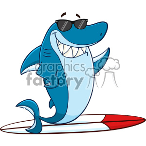 Shark clipart sunglasses clip freeuse stock Clipart Smiling Blue Shark Cartoon With Sunglasses Surfing And Waving  Vector With Background clipart. Royalty-free clipart # 402888 clip freeuse stock